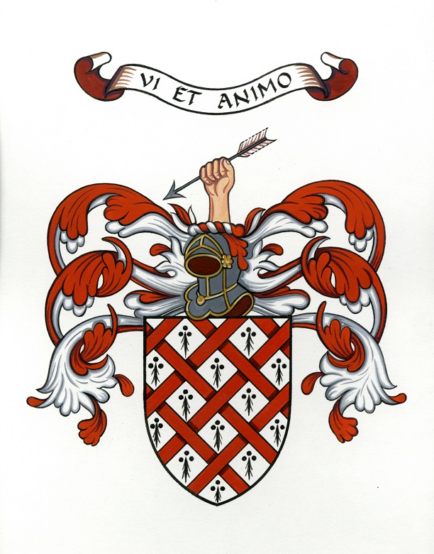 A red and white coat of arms topped with a knight's helmet and a hand holding an arrow. The motto reads Vi Et Animo
