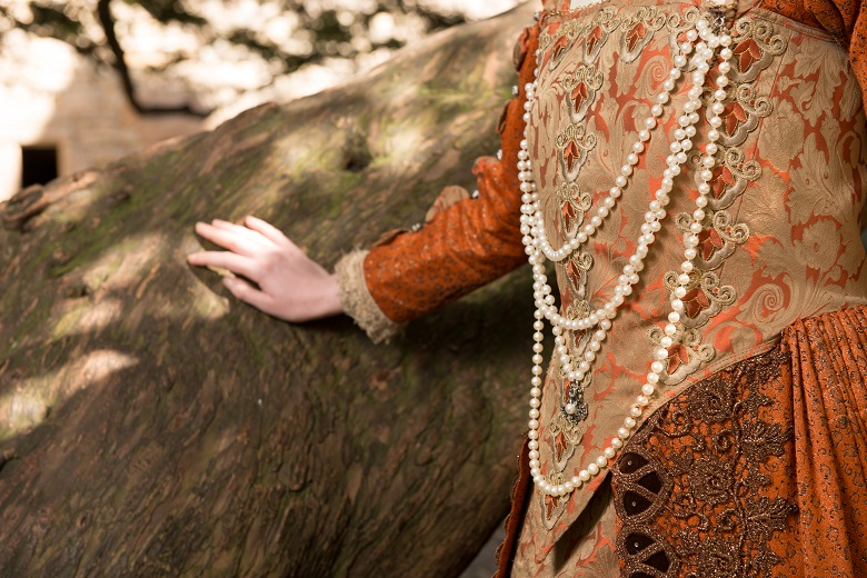Close-up of a model wearing lavish sixteenth-century style clothes and jewellery