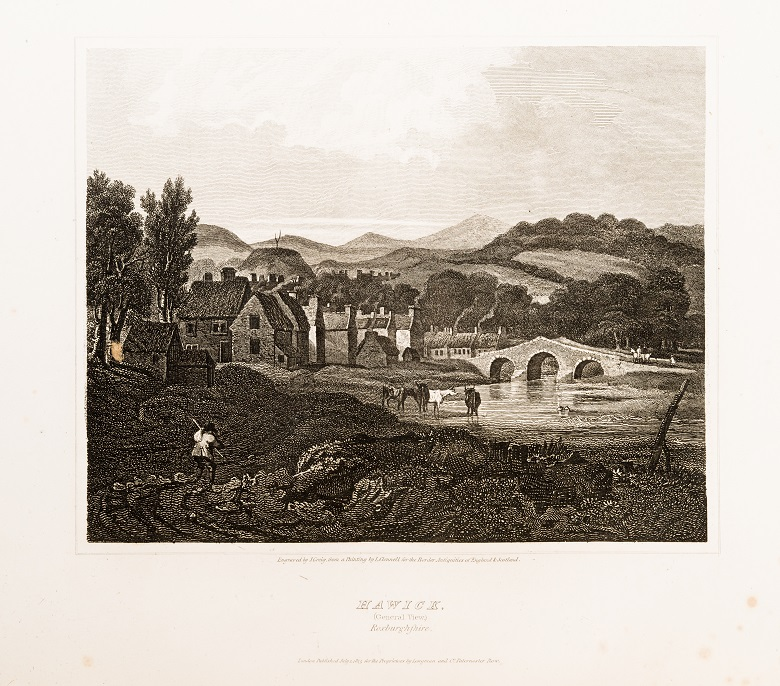 Engraving of a small riverside town and an old stone bridge. Cattle are grazing and a farmhand is at work in the foreground.
