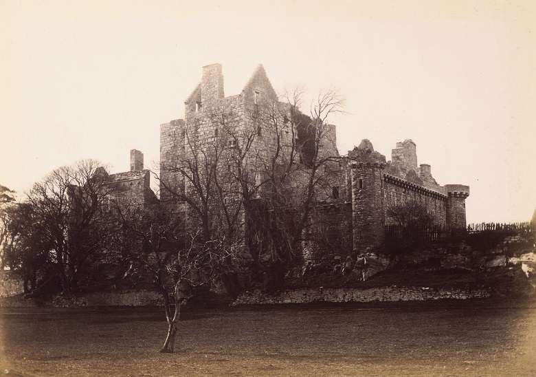 Archive photo of the ruins of Craigmillar Castle appearing quite spooky behind leafless winter trees