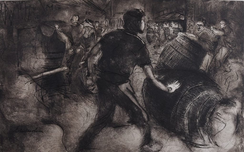 charcoal illustration of people making barrels