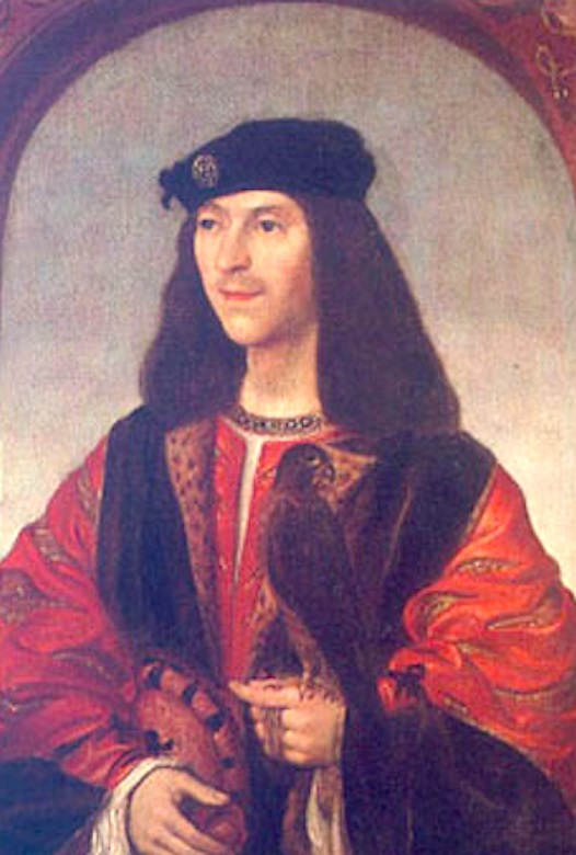 A portrait of James IV in red robes holding a bird