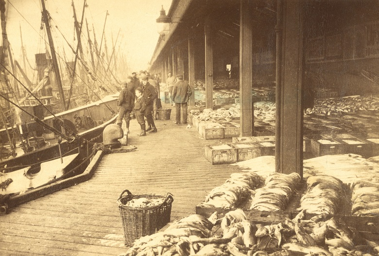Boxes of fish are displayed under a cobered market by the harbour. Fishing boats are moored in the background.