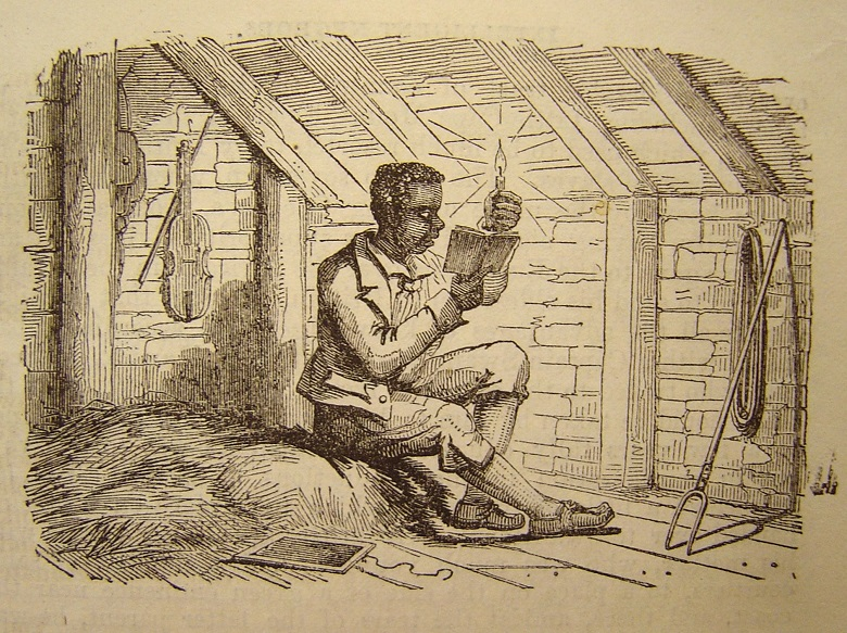 Drawing of a young man in the room of a rustic cottage holding a candle in order to read a book