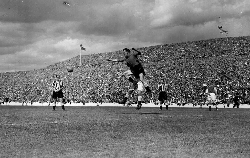Archive image of a football match being played in Edinburgh in the 1950s