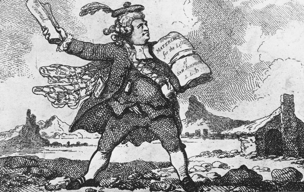 "A cartoon of James Boswell standing in a rural Scottish landscape carrying files titled ""Materials for the life of Sam Johnson"" and ""Journal"""