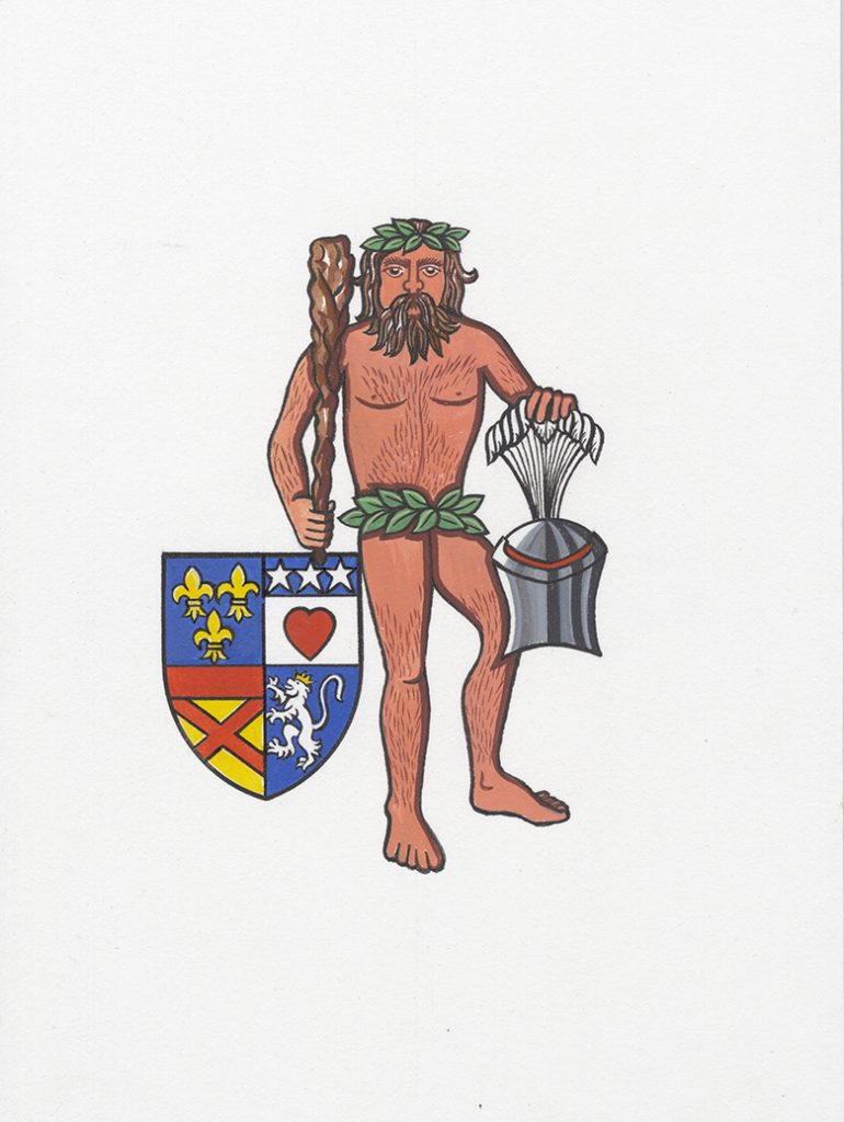 "Illustration showing a naked, bearded man. He's brandishing a club in one hand and in the other hand he is holding a plumed helmet. Beside him is a shield with the Douglas coat of arms, including the ""bludy heart""."