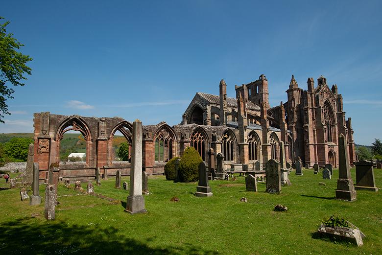 Melrose Abbey on a sunny day.