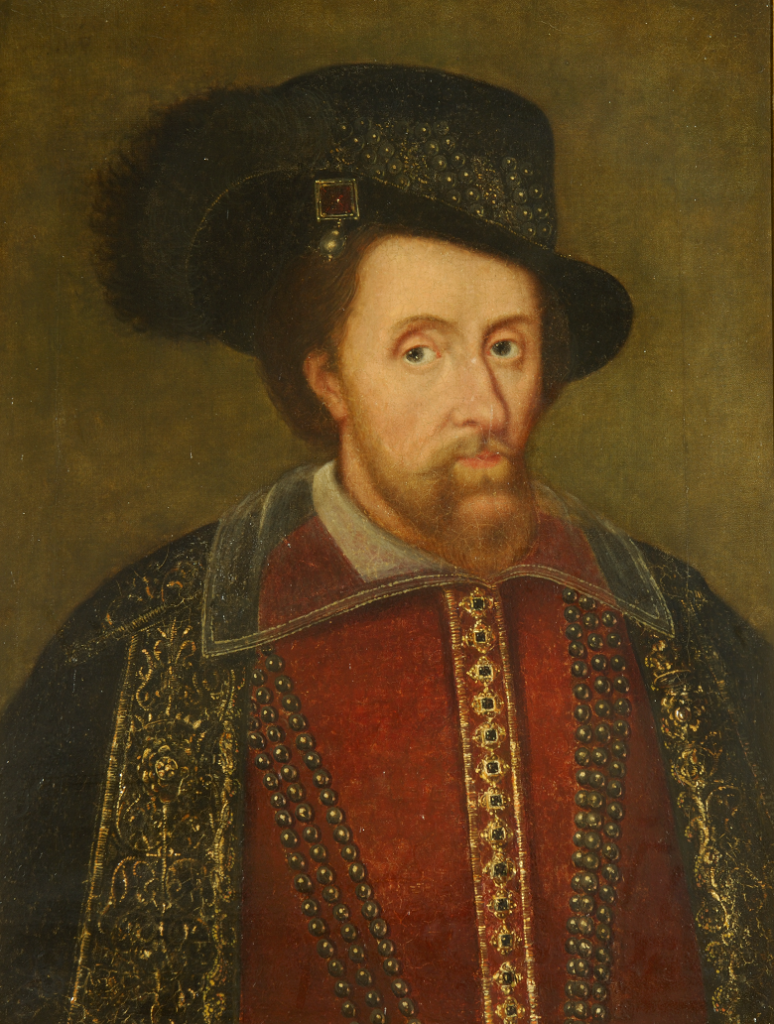 Portrait of a bearded man wearing a plumed hat and rich robes.