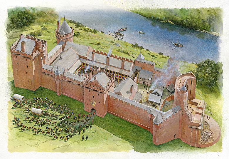Bothwell Castle reconstruction drawing. Shows the castle from an aerial perspective.
