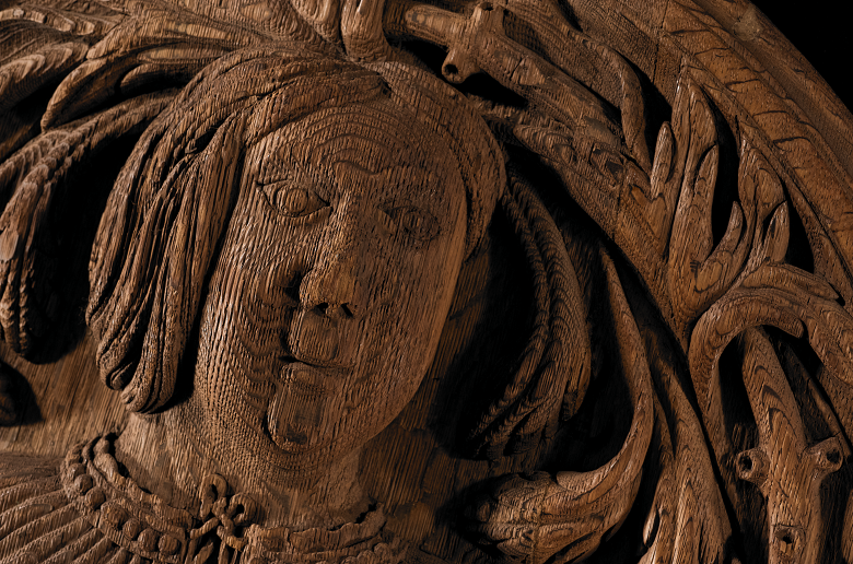 Wooden carving of James IV.