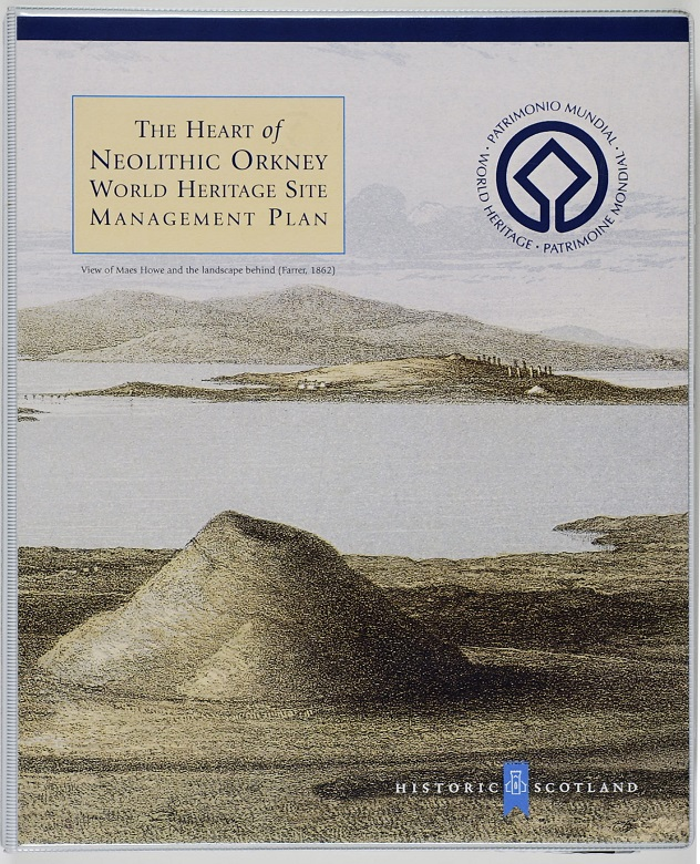 A copy of a Heart of Neolithic Orkney management plan with an illustration of a chambered cairn