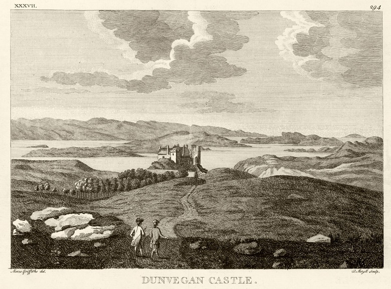 Archive print of two gentlemen approaching a castle beside a loch