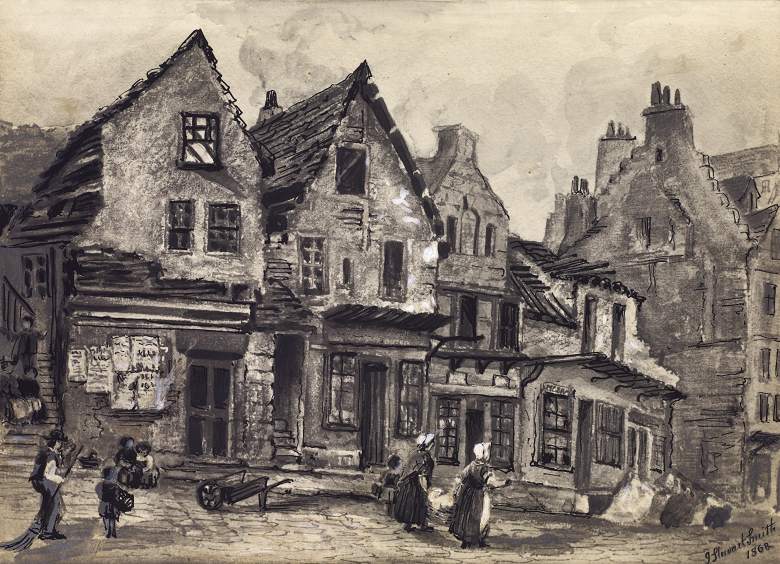 black and white sketch of ramshackle houses in Edinburgh's old town. Figures go about their business in the foreground.