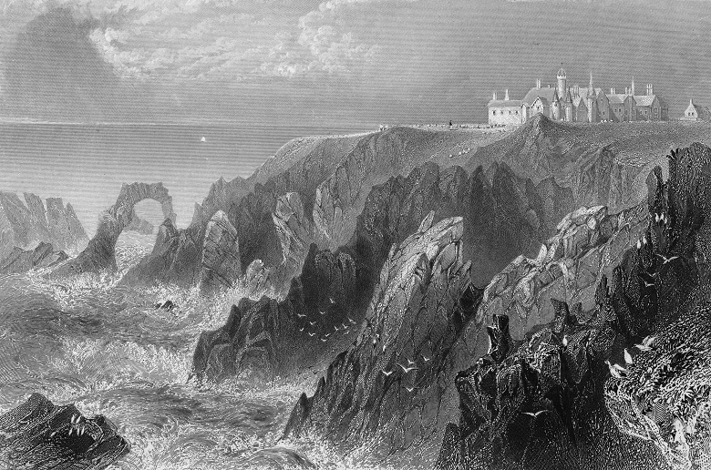 An archive print of a grand castle dramatically situated on a cliff above a stormy, rocky coastline