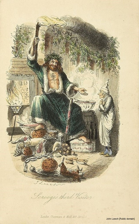 A Victorian illustration of a scene from Scrooge in which the protagonist encounters the Ghost of Christmas Present