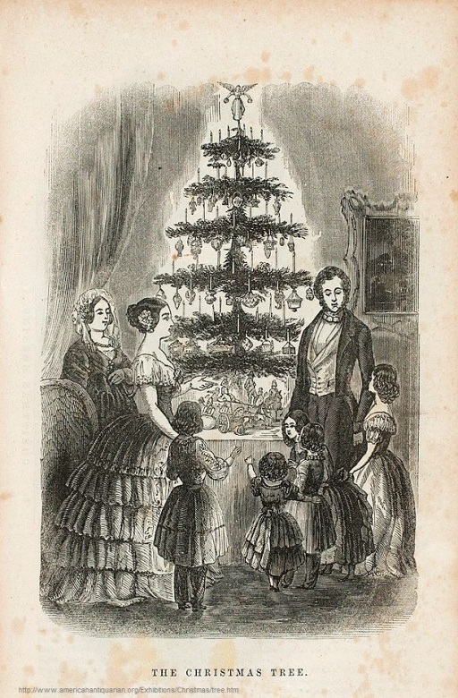 A sketch of a royal family around an early Christmas tree