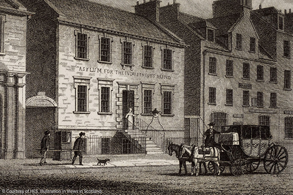 Engraving of the Asylum for the Industrial Blind. It's a Georgian building and parked in front is a sedan chair, carriage and pair of horses.