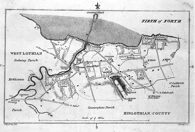Black and white map showing the extent of the parish of Cramond, which stretched from the lands of Granton in the east to the Amon Water, now the River Almond, in the west.