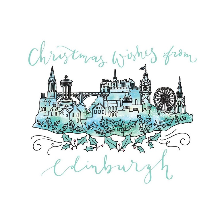 "A Christmas card with an Edinburgh Castle design reading ""Christmas wishes from Edinburgh"""