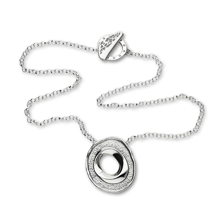 Marketing shot of a silver necklace
