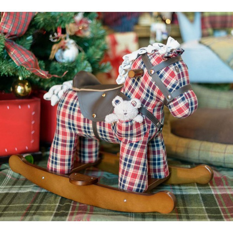 A blue and red miniature tartan rocking horse from Historic Scotland's Christmas gifts range