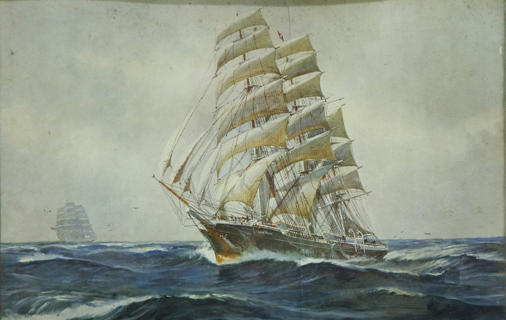 Painting of a large, old-fashioned sailing ship negotiating choppy waters