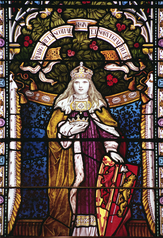 A colourful stained glass window featuring a young girl with long blonde hair wearing regal robes and a crown