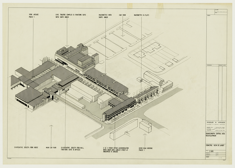 Archive copy of plans for a civic centre showing various buildings and a car park