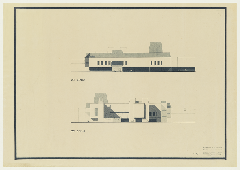 Archive copy of architect's plans for a civic centre