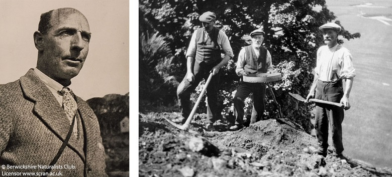 Two photos. Left hand photo: photo of a middle aged man wearing a tweed jacket. On the right: three men wearing flat caps on the side of a hill holding a spade, a pickaxe and a sieve.