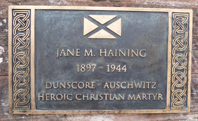 Plaque reads: Jane M Haining, 1897-1944, Dunscore - Auschwitz,Heroic Christian Martyr
