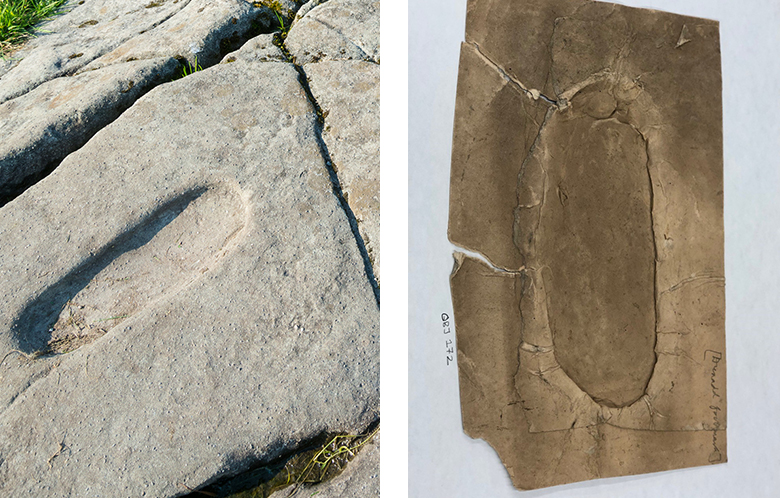 Two photos. One of left shows original carving of a footprint in rock at Dunadd Fort. The other shows a papier mache impression.