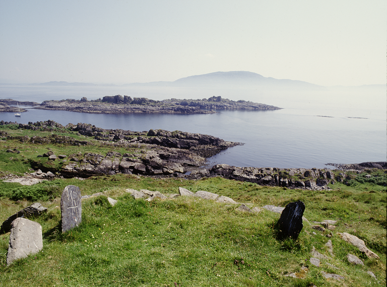 An ancient burial site close to the shoreline on an isolated island