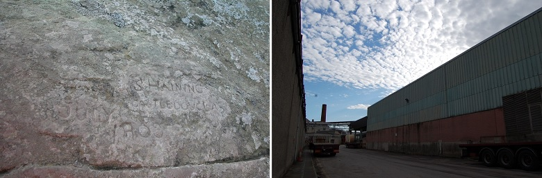 A picture of a historic inscription on a standing stone alongside a modern image of a industrial building on a sunny day