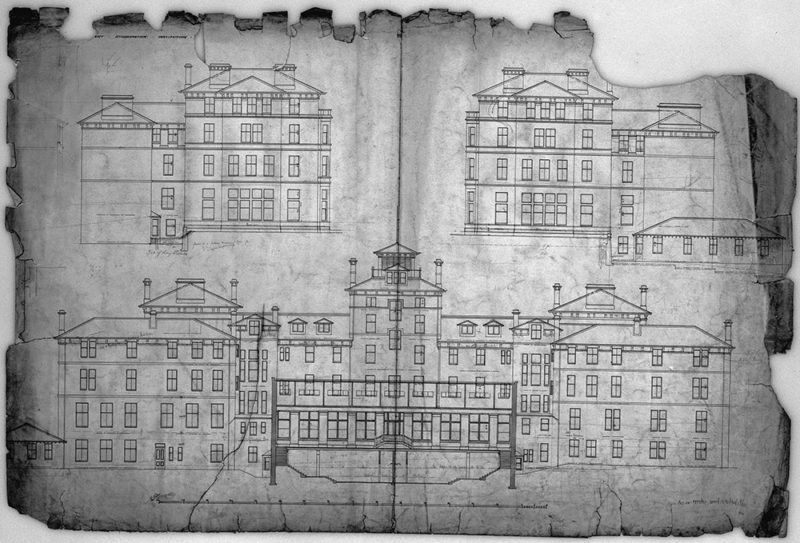 drawing of a building plan with many windows