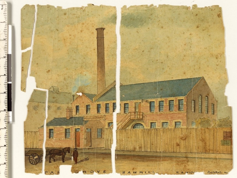 A damaged watercolour painting of a sawmill