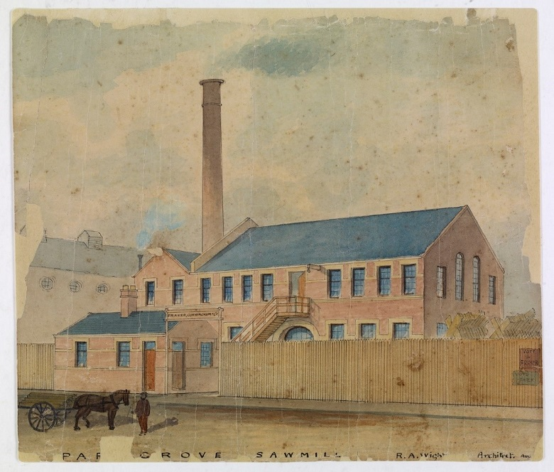 A fully restored watercolour painting of a sawmill