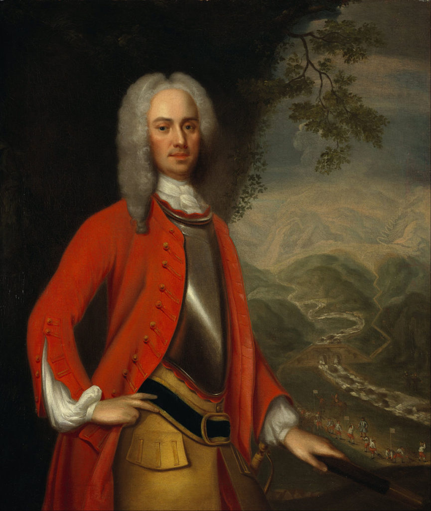 painting of man wearing white wig and red coat over armour breastplate with mountains behind him