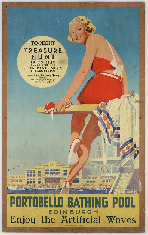 A drawing of a glamorous bather relaxing on a diving board on a poster advertising a swimming pool. It lists various attractions and events including artificial waves and a treasure hunt.