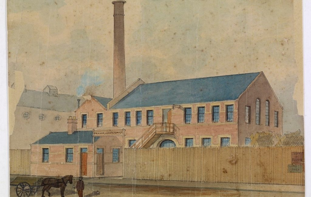 A watercolour painting of a sawmill with a man and a horse and cart in the foreground