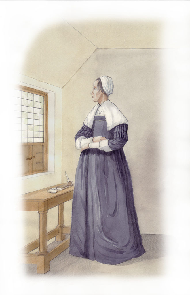 watercolour illustration showing a lady in a blue dress looking out a window.
