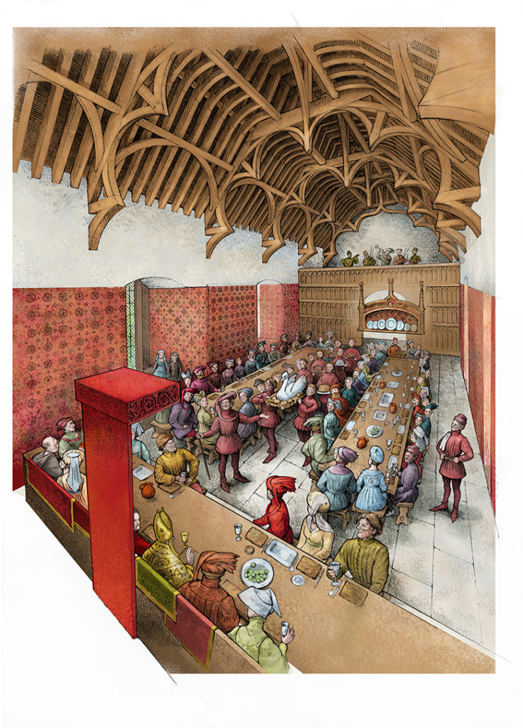 A reconstruction drawing of a banquet in the Great Hall at Dirleton Castle.
