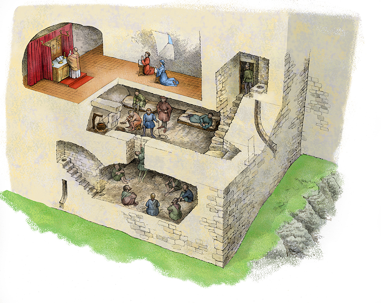 A cutaway reconstruction drawing of the chapel, pit and prison at Dirleton Castle