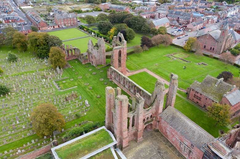 Aerial view of Abroath Abbey, from where the Declaration of Arbroath was sent in 1320