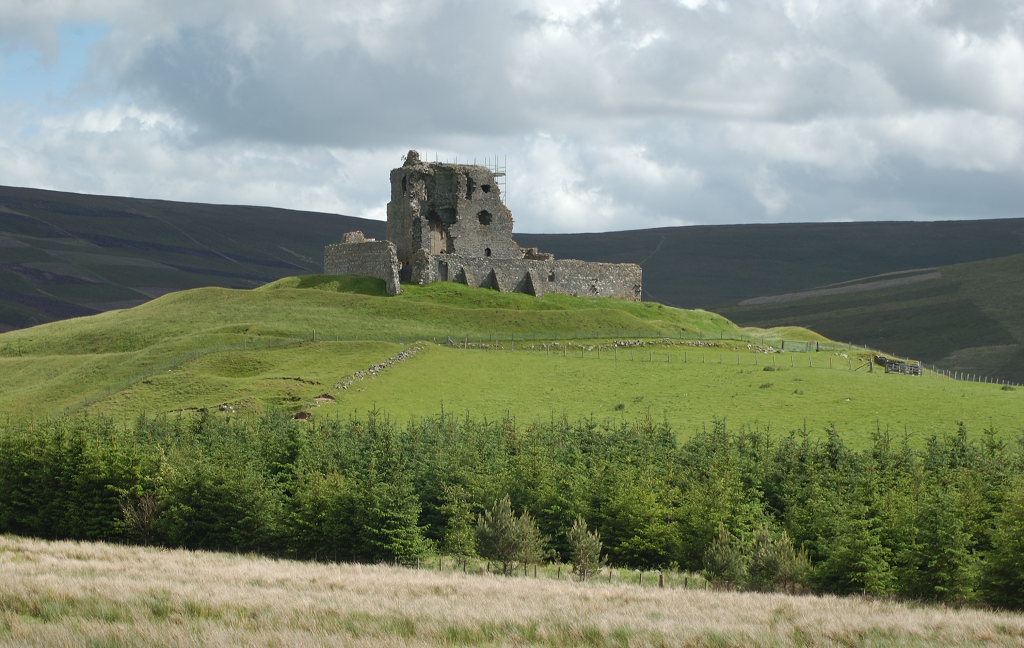 The ruins of Auchindoun Castle in an isolated, hilltop location