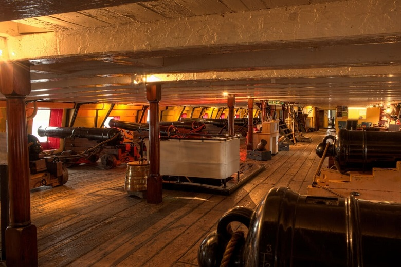A covered gun deck on a nineteenth century battleship with cannons on each side