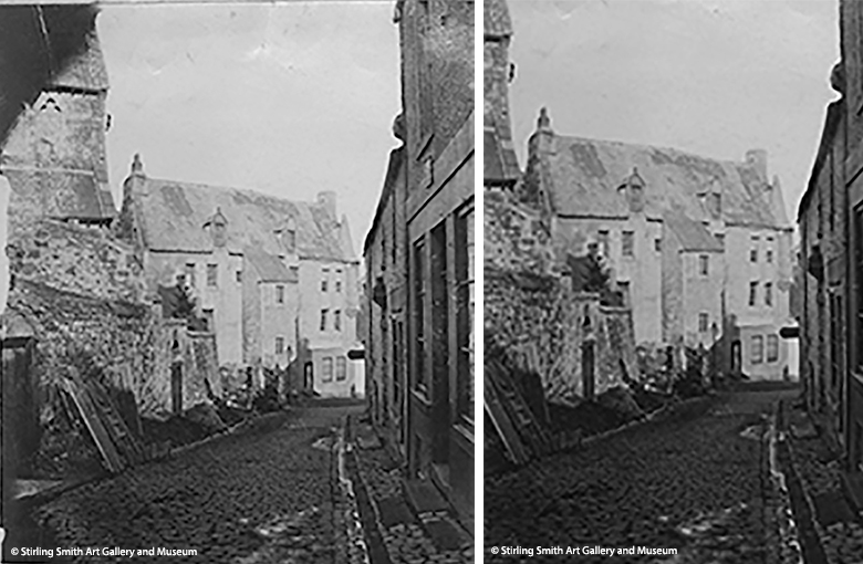 Two photos side by side. The photos are identical but with different crops. The left hand photo is the original photo and the right hand people is a section of the photo. The image shows a view down a winding street. It's an old black and white photo. A church is just visible on the left hand of the frame, but is cropped out on the right hand photo.