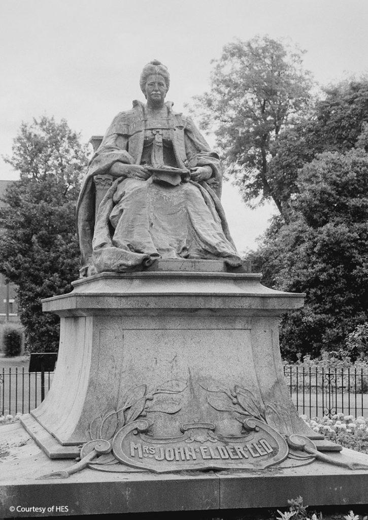 "Statue of a commanding woman. The plinth reads ""Mrs John Elder LLD"""
