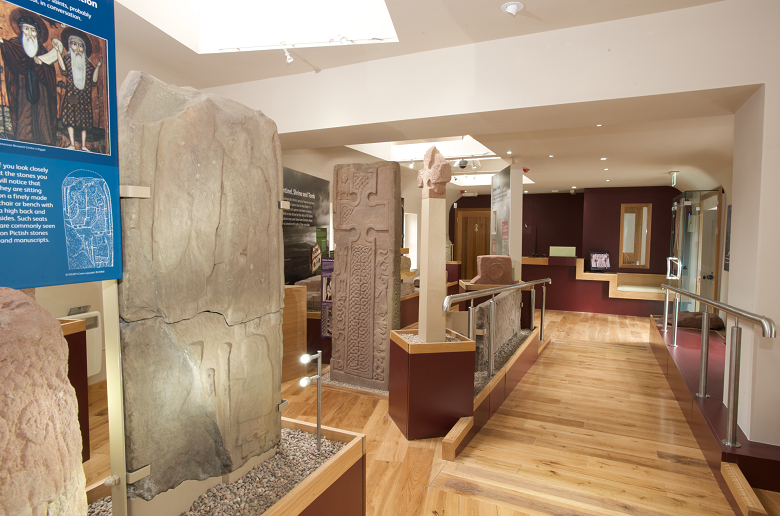 The light and airy interior of St Vigeans museum dedicated to carved stones and crosses